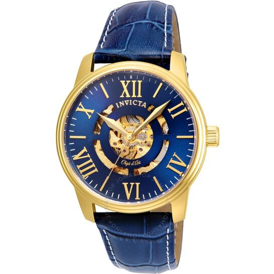 Montre automatique Invicta Blue Skeleton Dial Men's Watch 22601 (frais d'importation et douanes compris)
