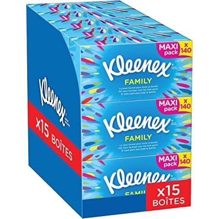 Lot de 15 boîtes de 140 Mouchoirs Kleenex (via abonnement - 14.92€ via coupon 1er abonnement)