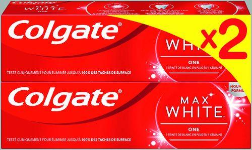 Lot de 2 Dentifrices Colgate Max White - 2 x 75ml (via 2.93€ sur la carte de fidélité)
