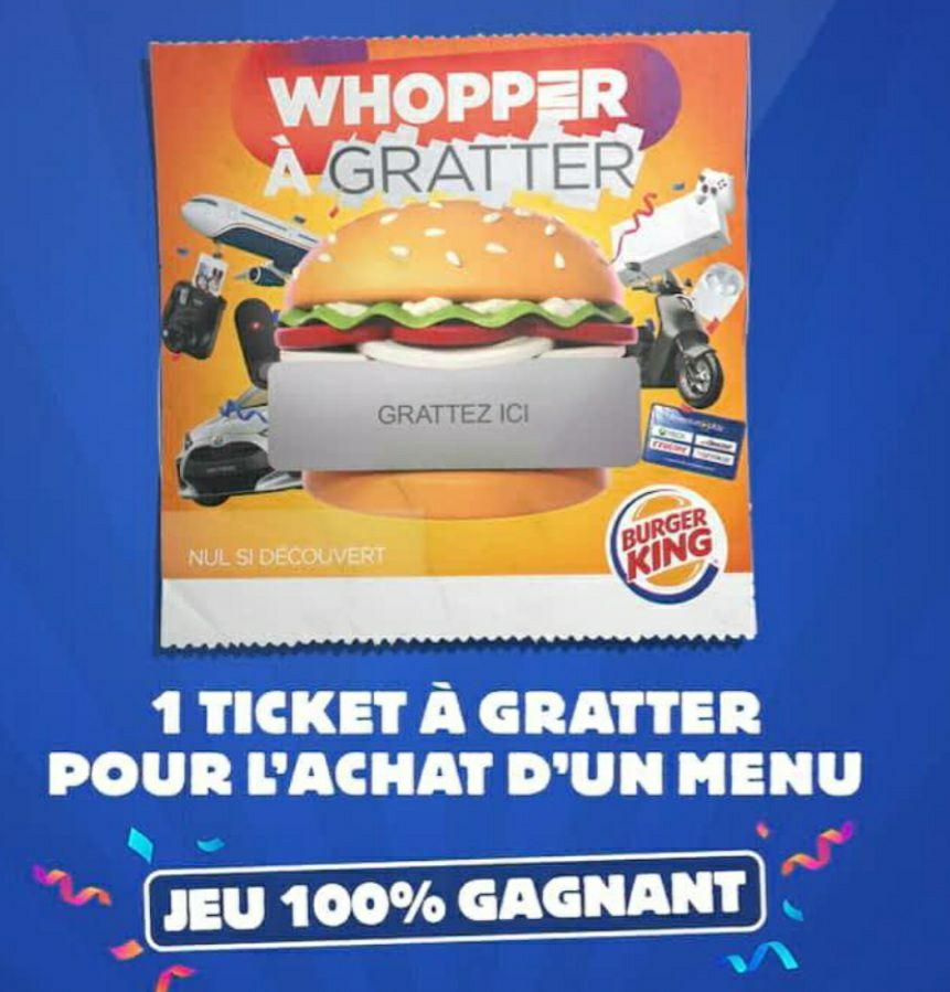 Ticket Jeu 100% Gagnant pour l'achat d'un menu