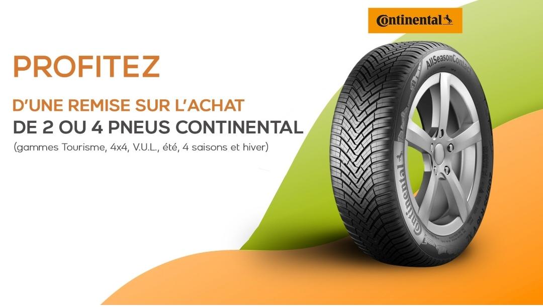 Jusqu'à 120€ de remise pour l'achat de 2 ou 4 pneus Continental sur Avatacar.com