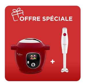 Pack Moulinex Cookeo+ (180 recettes, rouge) + Pied mixeur TurboMix