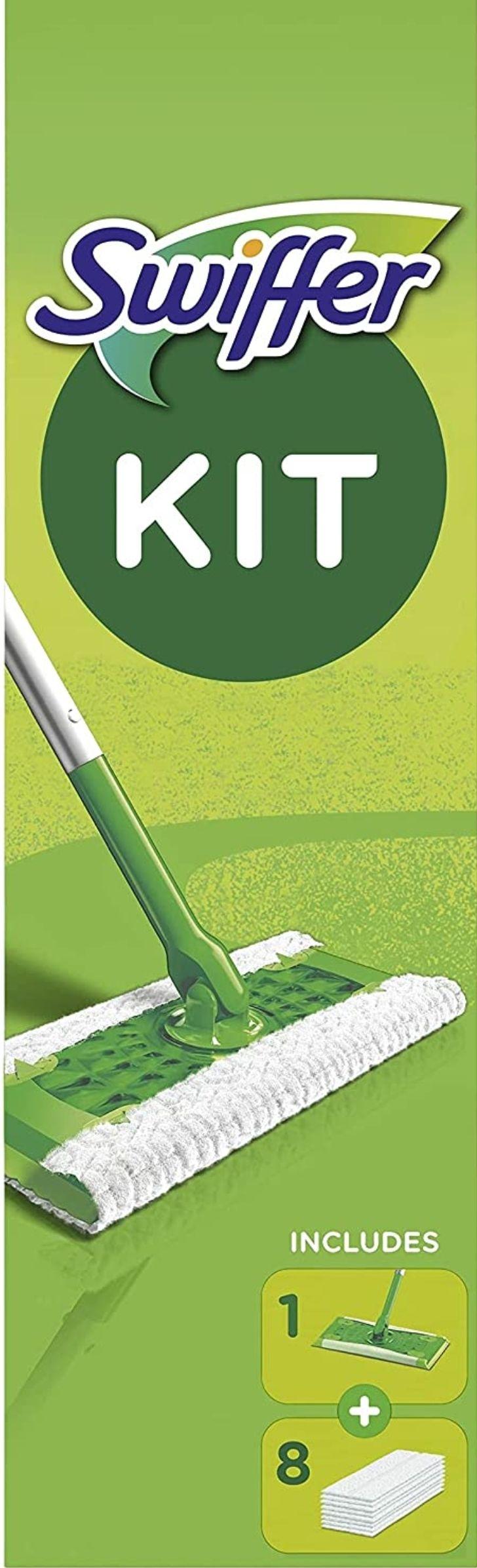 Kit Balai Attrape-Poussière Swiffer + 8 Lingettes Sèches, Retient 3x plus de poussière et de poils
