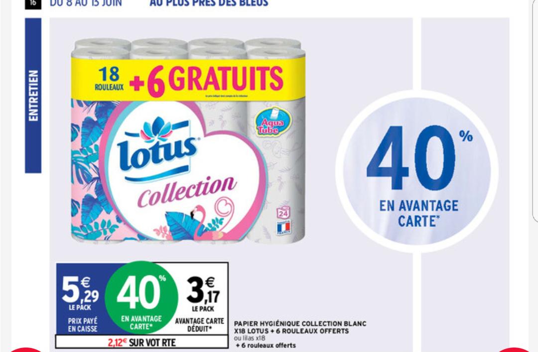 Paquet de 24 Rouleaux de Papier hygiénique Lotus Collection Blanc x24 (Via 2.12€ sur Carte Fidélité)