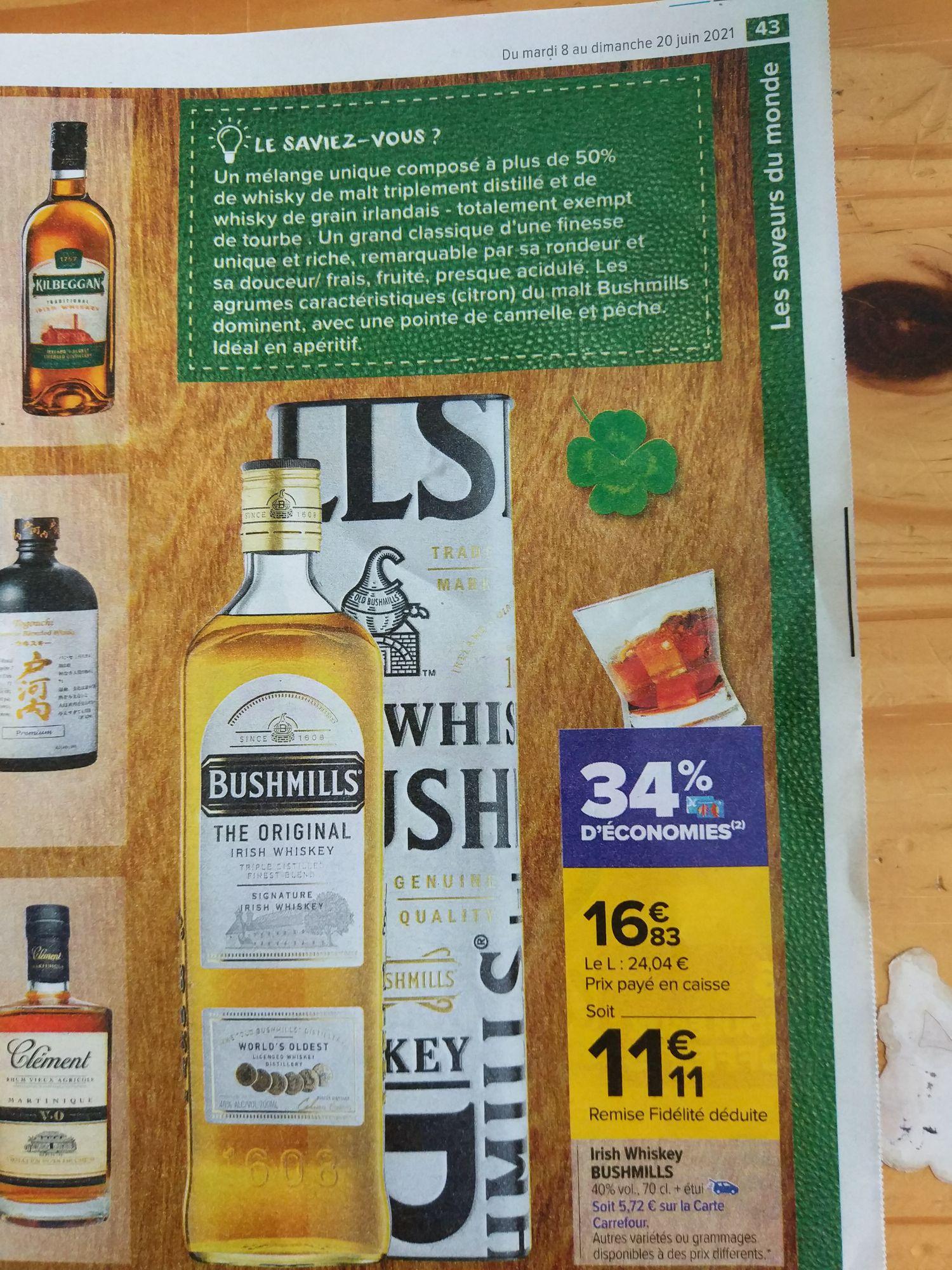Bouteille de Whisky Bushmills Irish The Original - 70 cl (via 5,72€ sur la carte fidélité)