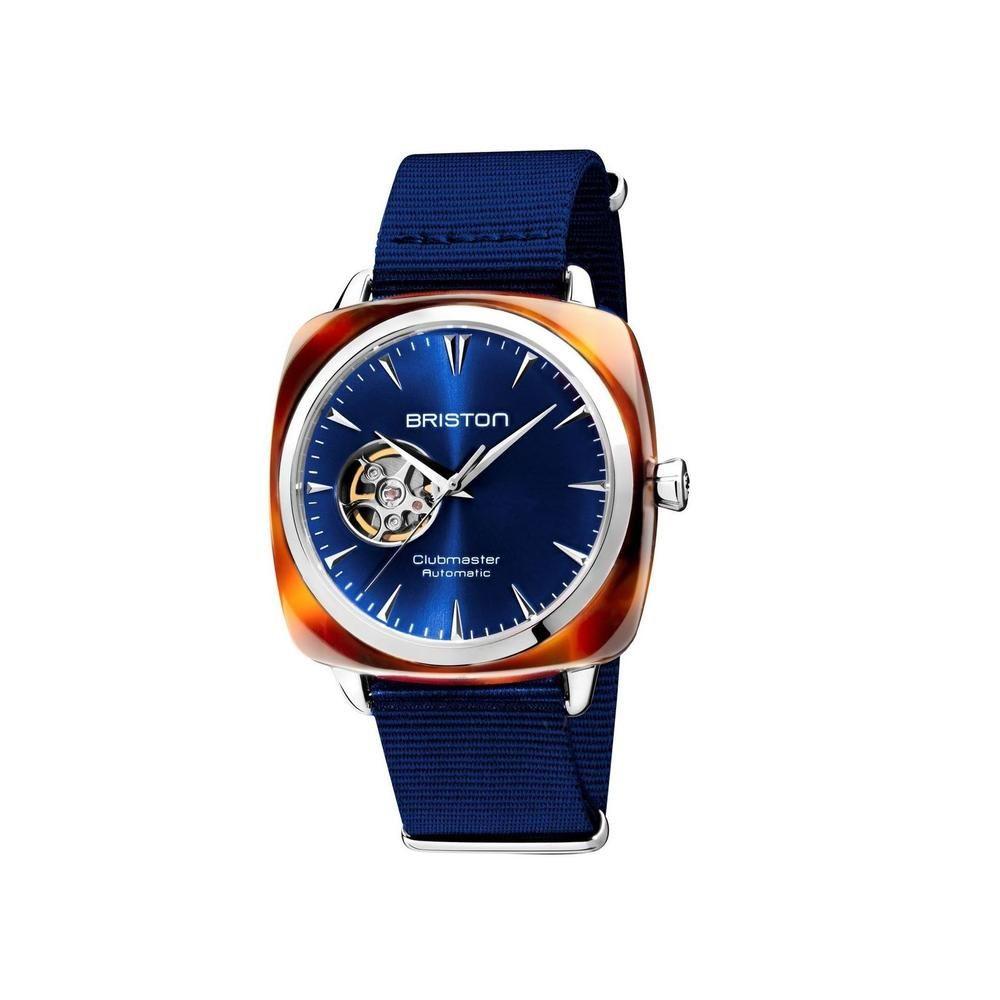 Sélection de montres Briston en promotion - Ex: Clubmaster Iconic Open Heart - Cadran Soleillé Bleu, verre saphir, 40 mm (thebradery.com)