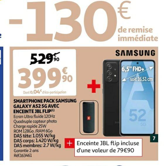"""Smartphone 6.5"""" Samsung Galaxy A52 5G - 128 Go + Enceinte sans fil JBL Flip"""