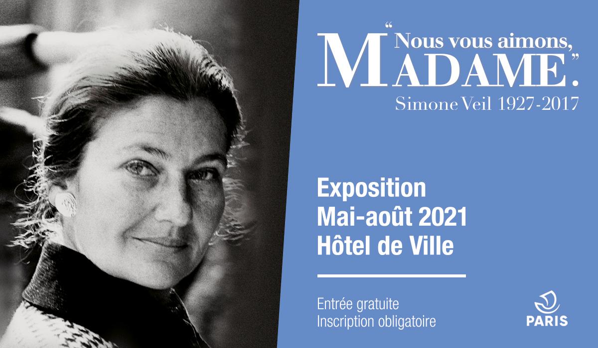 """Exposition gratuite à l'Hôtel de Ville """"Nous vous aimons, Madame."""" Simone Veil 1927-2017"""" (Paris 75004)"""