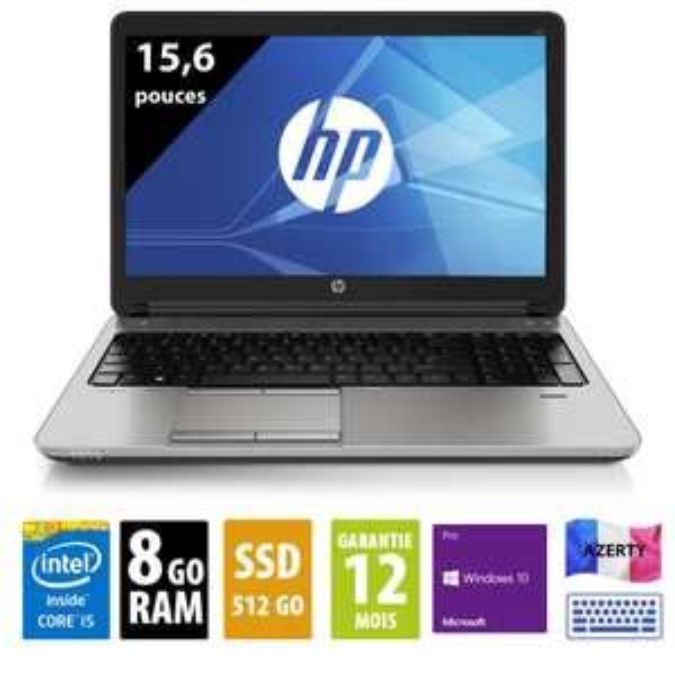 "PC portable 15.6"" HP Probook 650 G2 (WXGA, i5-6300U, 8 Go de RAM, 512 Go en SSD, Windows 10 Pro) - reconditionné grade A"