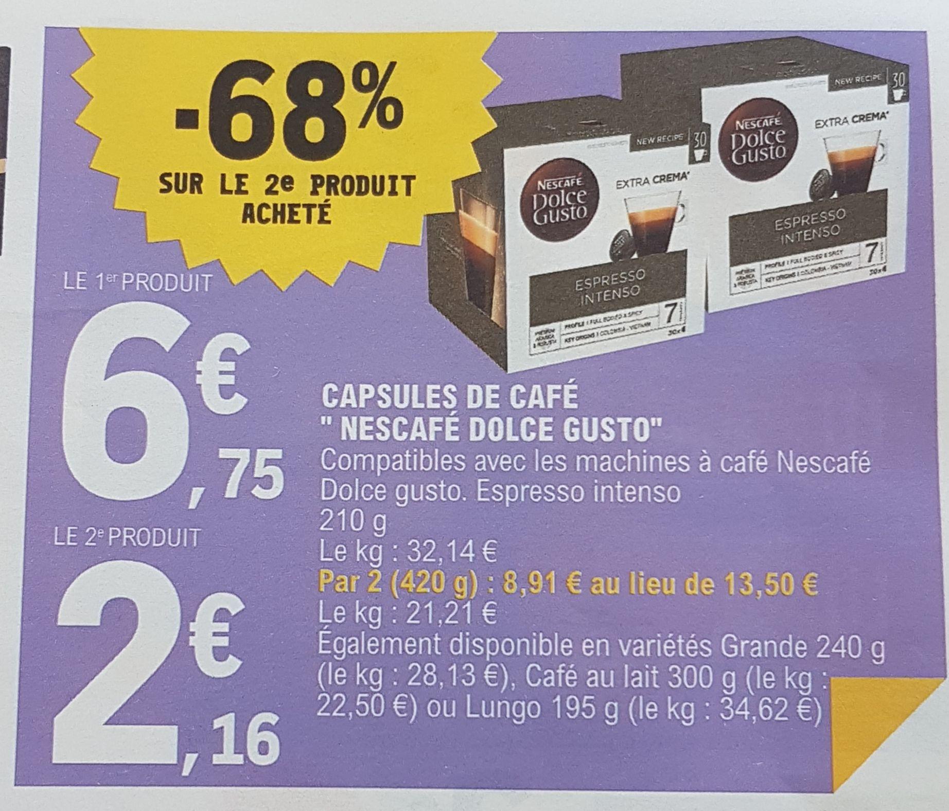 2 paquets de 30 capsules de café Dolce Gusto