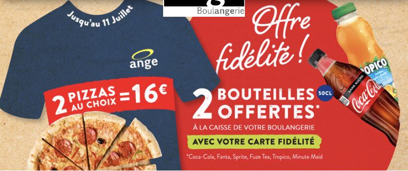 2 Pizzas au choix + 2 bouteilles de 50cl offerte (-5% sur l'application)