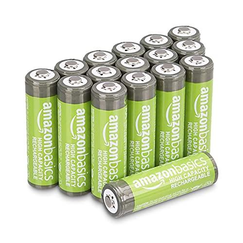 Lot de 16 Piles rechargeables Amazon Basics - AA, 2400 mAh (Pré-chargées)