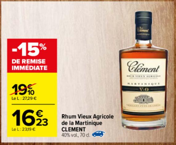 Bouteille de Rhum Vieux Agricole AOC Martinique 40%vol - 70cl, Clément V.O