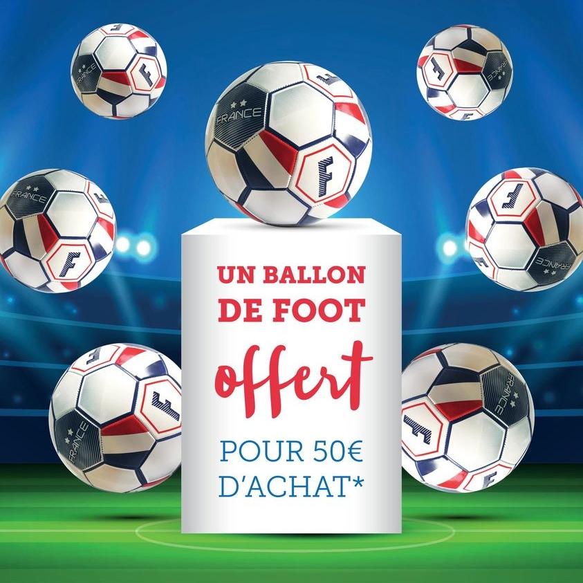 Un ballon de football France offert dès 50€ de courses en magasin ou en drive