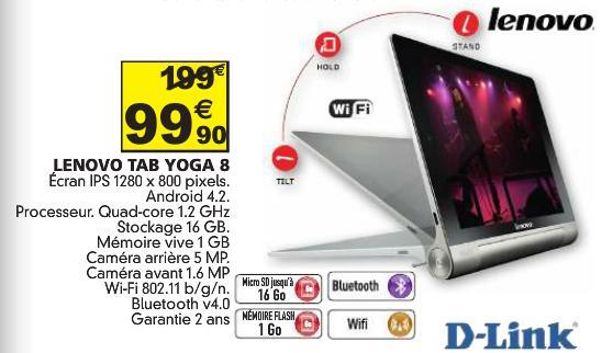 "Tablette 8"" Lenovo Yoga Tab 1 - HD, RAM 1 Go, ROM 16 Go"