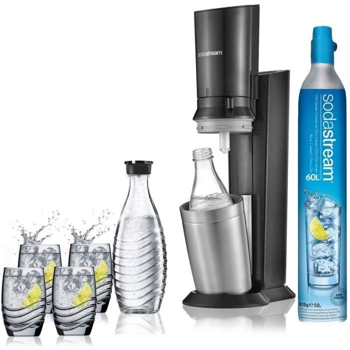 Pack Machine à gazéifier Sodastream Crystal + 2 Carafes + 4 verres (via ODR 25€ + bon de 5€)