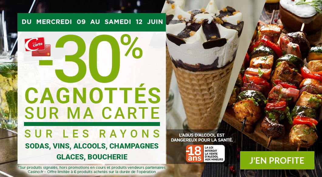 30% remboursés sur la carte de fidélité sur les rayons Alcools, Boucherie, Champagnes, Glaces, Sodas & Vins