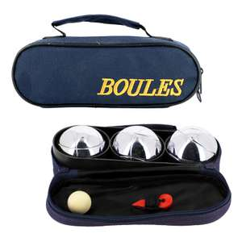 Kit de 3 boules de pétanque - avec cochonnet, fil mesureur et sacoche