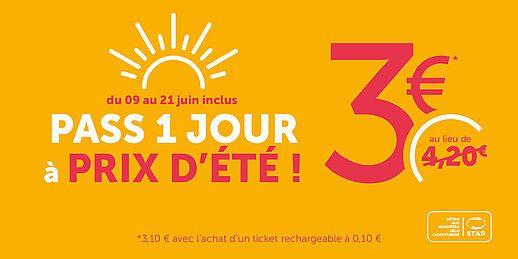 Pass bus et métro 1 jour (24 h) - STAR Rennes (35)