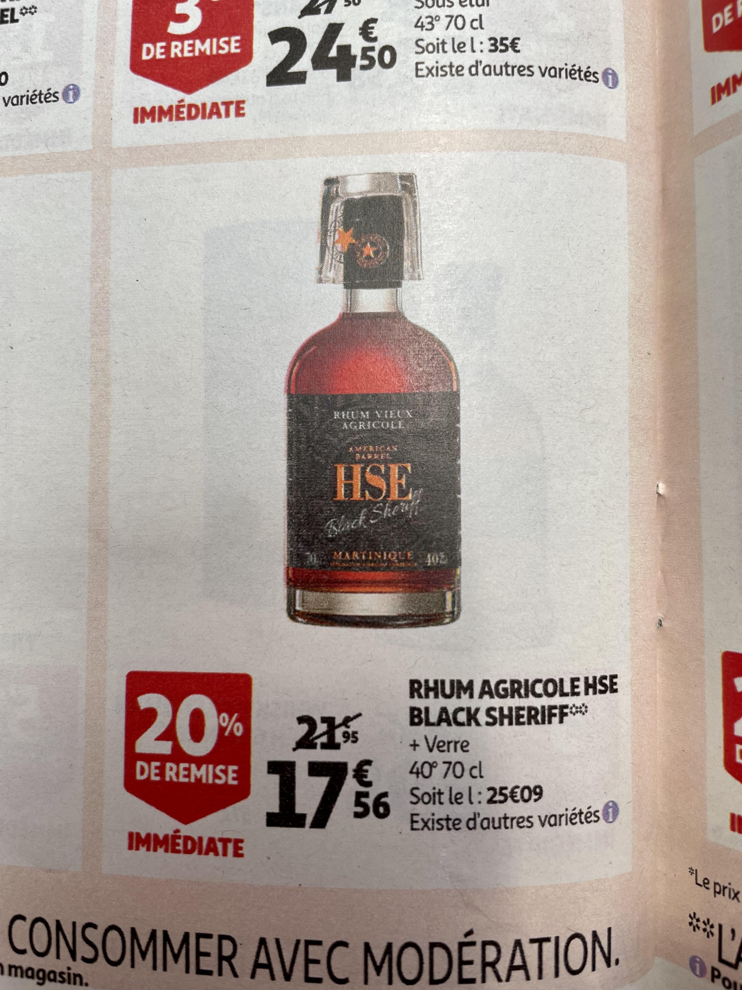 Rhum vieux agricole HSE Black Sheriff + verre - 70 cl