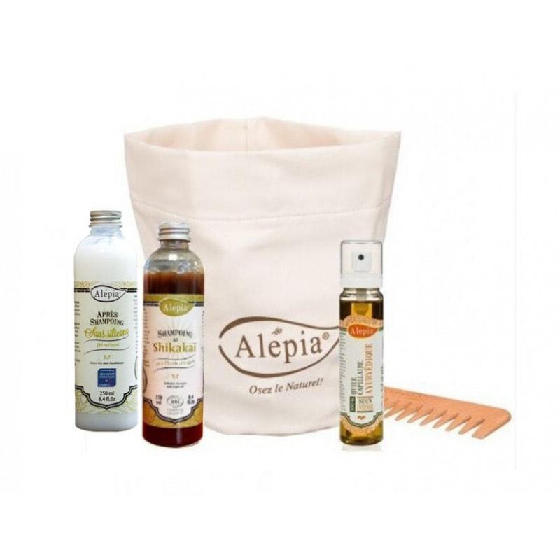Trousse Soin des cheveux : Huile capillaire ayurvédique + Peigne + Shampoing bio Shikakai + Après-shampoing Alep