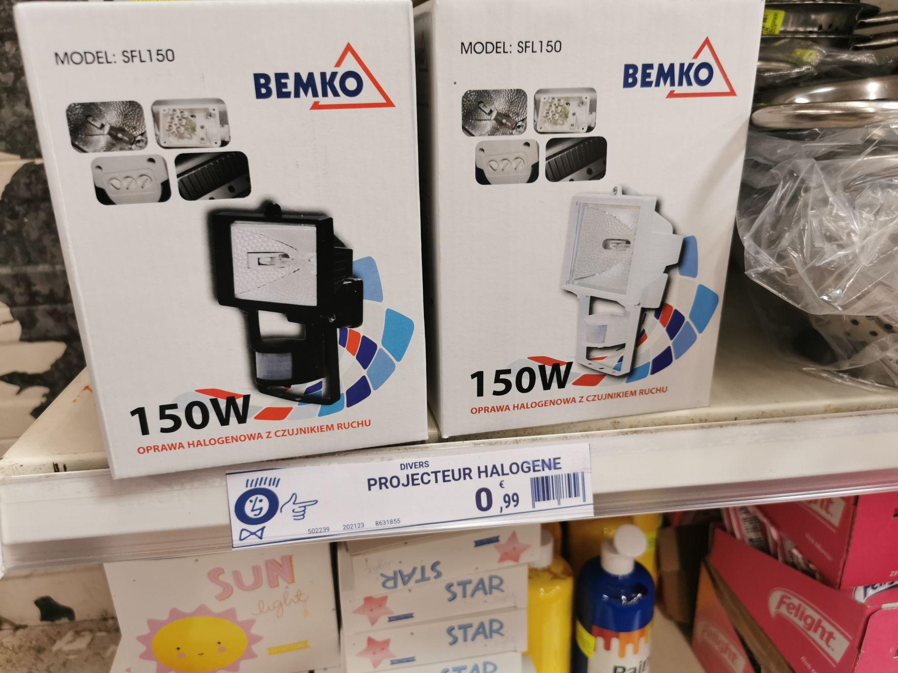 Projecteur halogène Bemko SFL150 (avec détecteur de mouvements, blanc ou noir) - Châlette-sur-Loing (45)