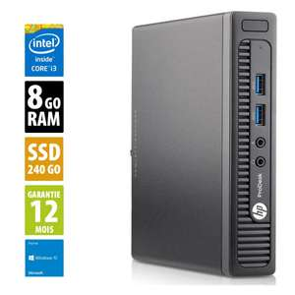 PC HP ProDesk 400 G1 DM USDT - i3-4160T 3.10GHz, 8Go RAM, 240Go SSD (occasion)