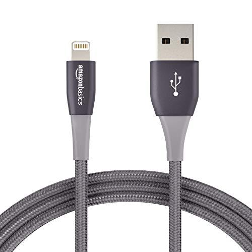 Lot de 12 Câble Nylon à double tressage Amazon Basics USB type A et connecteur Lightning , 1,8 m , Gris foncé