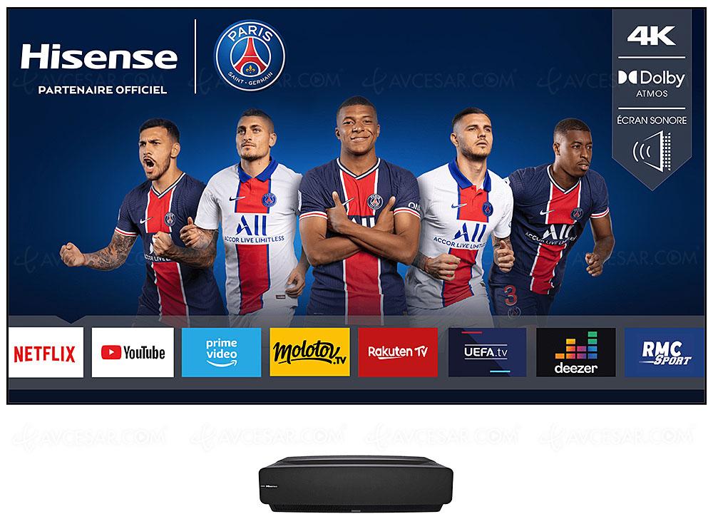 """Vidéoprojecteur laser TV 88"""" Hisense 88L5VG (4K UHD, DLP, 2150 lumens, Smart TV) + Écran sonorisé Dolby Atmos (via ODR de 1000€)"""
