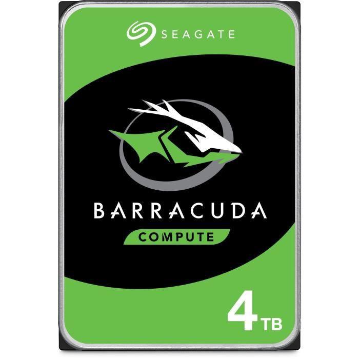 "Disque dur interne 3.5"" Seagate BarraCuda - 4 To, Cache 256 Mo, 5400 tr/min, SMR (ST4000DM004)"