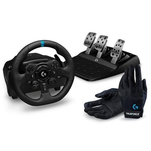 -30% sur 4 Volants et Pédaliers de course Logitech - Ex: Volant Logitech G923 + Pédalier + Gants Logitech G Racing Gloves pour PS4, PS5, PC
