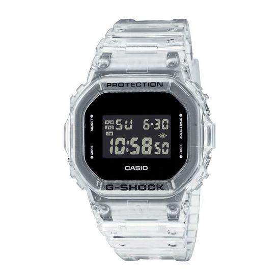 Montre digitale Casio G-Shock Skeleton DW-5600SKE-7ER - bracelet transparent, blanc