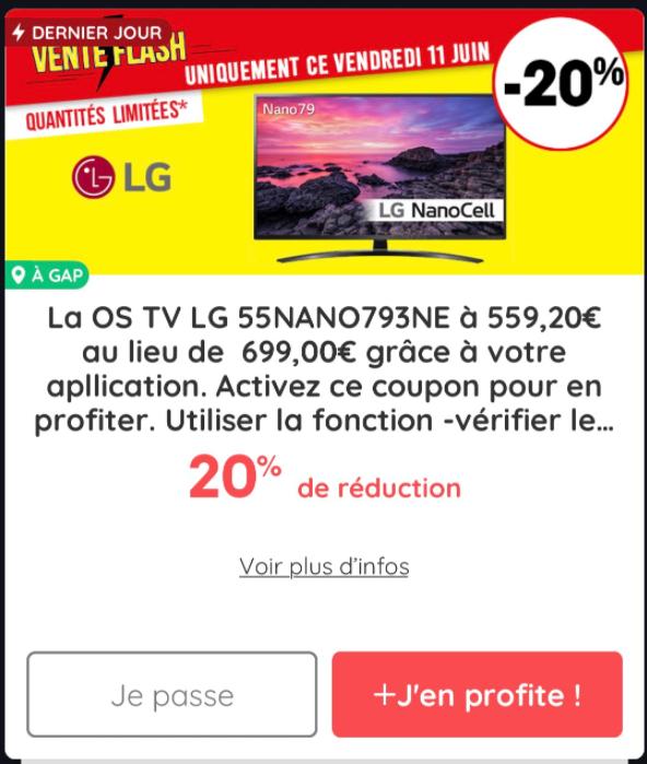 """TV 55"""" LG 55NANO793NE - 4K UHD, Dalle IPS, Active HDR, Smart TV (National) - via l'application Casino Max"""