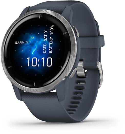 Montre connectée Garmin Venu 2 - 45 mm, bracelet en silicone, bleu/gris