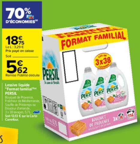 Lot de 3 bidons de lessive liquide Persil - 3 x 1.9L,114 lavages (via 13,13€ sur la carte fidélité)