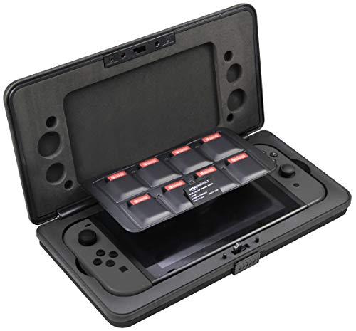 Étui de protection pour console Nintendo Switch Amazon Basics - avec emplacements pour Joy-Con & 8 jeux, noir