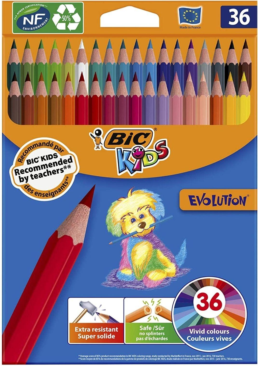 Pack de 36 crayons de couleurs BIC Kids Evolution ECOlutions - Couleur Assorties