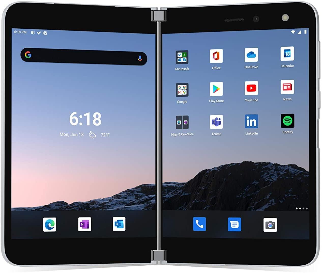 "Smartphone 5.6"" Microsoft Surface Duo 4G+ - 6 Go RAM, 128 Go SSD, Glacier (Frais d'importation inclus)"