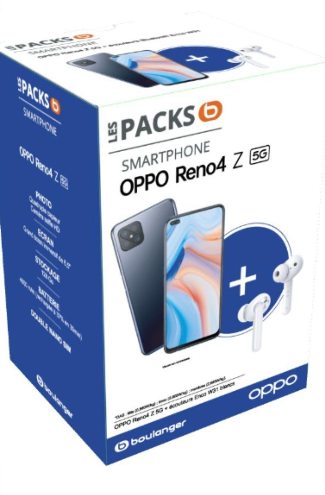 """Smartphone 6.57"""" Oppo Reno4 Z 5G 6 8 Go de RAM, 128 Go + Écouteurs sans-fil Oppo Enco W31 + protection d'écran sur mesure"""