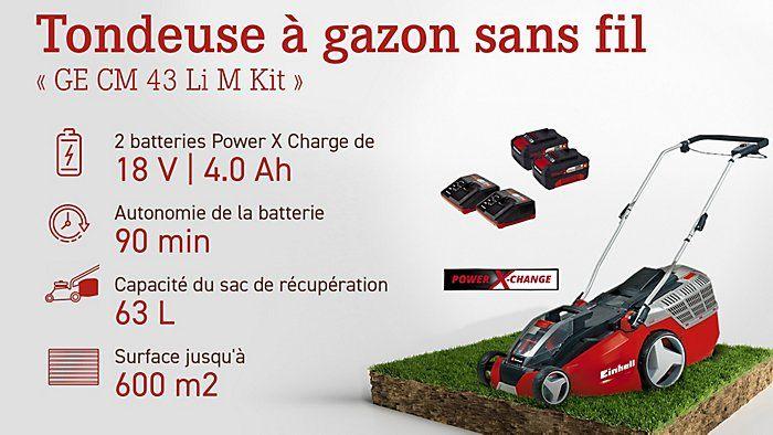 Tondeuse électrique Einhell Power X-Change GE-CM 43 Li avec 2 Batteries 4.0 Ah + 2 Chargeurs