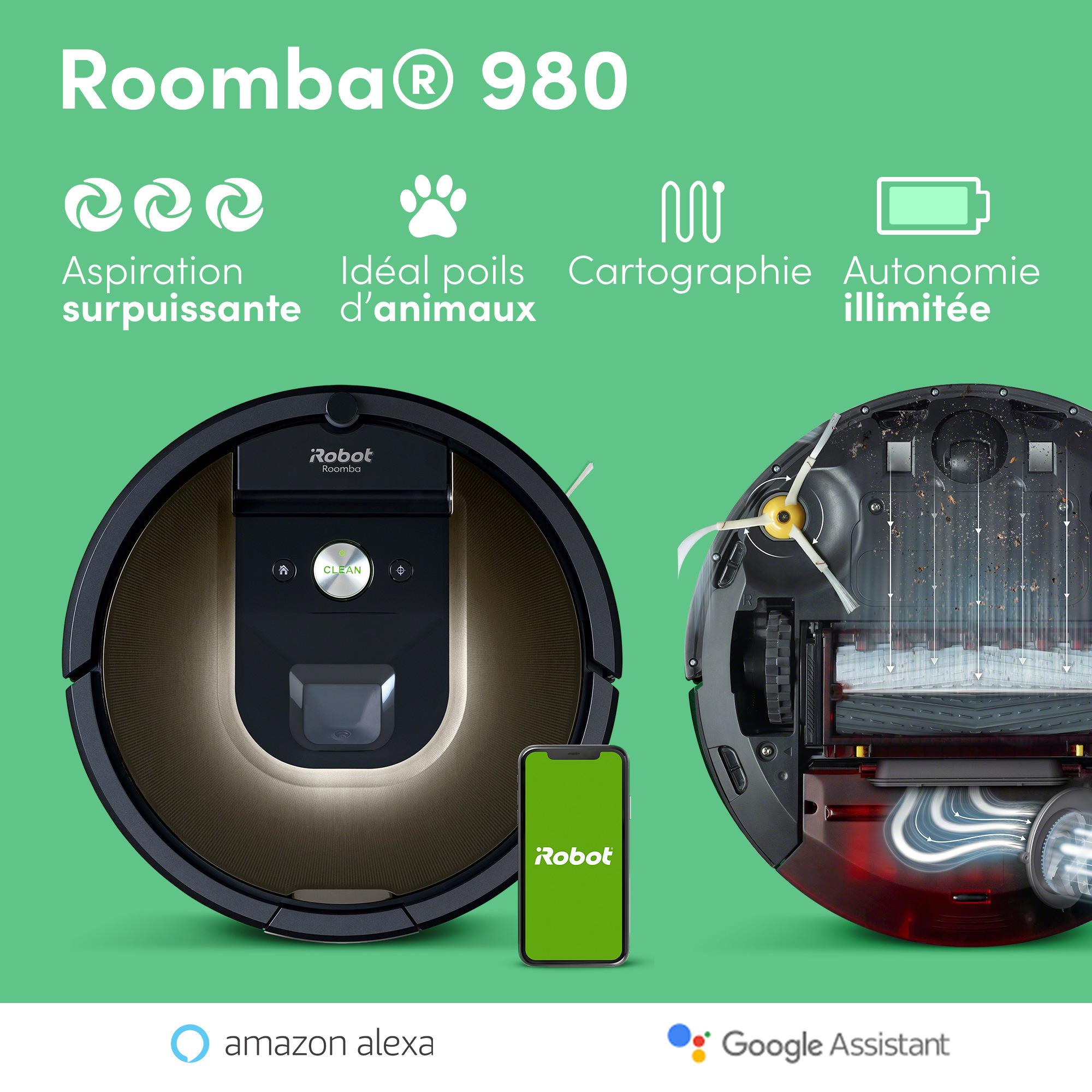 Aspirateur robot Roomba 980 - Autonomie illimitée et cartographie