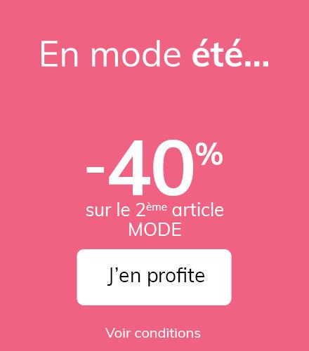 40% de réduction sur le 2ème article de Mode acheté (collection Printemps-Eté 2021)