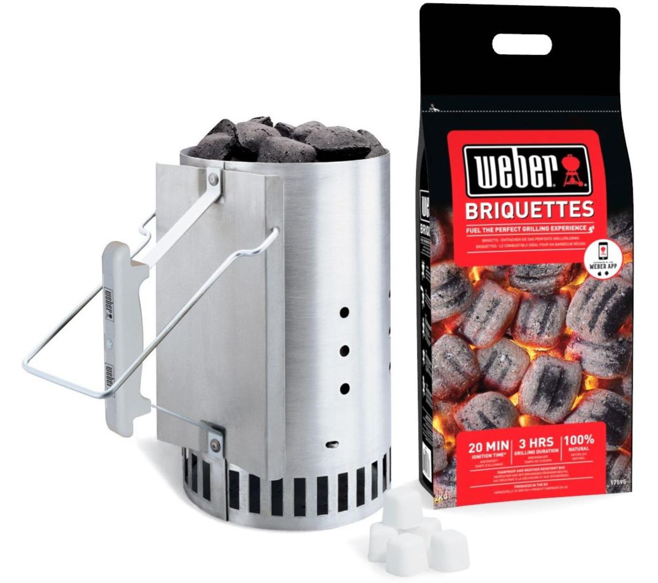 Kit d'allumage Weber RapidFire : Cheminée d'allumage + 2 kg de briquettes + 4 bloc d'allume-feux