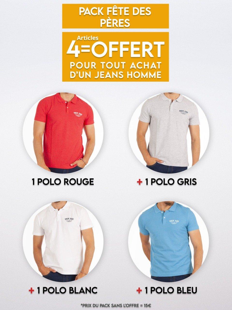 1 jeans acheté = 4 polos offerts (Différents coloris) - complices.com frais de port offerts dès 50 €