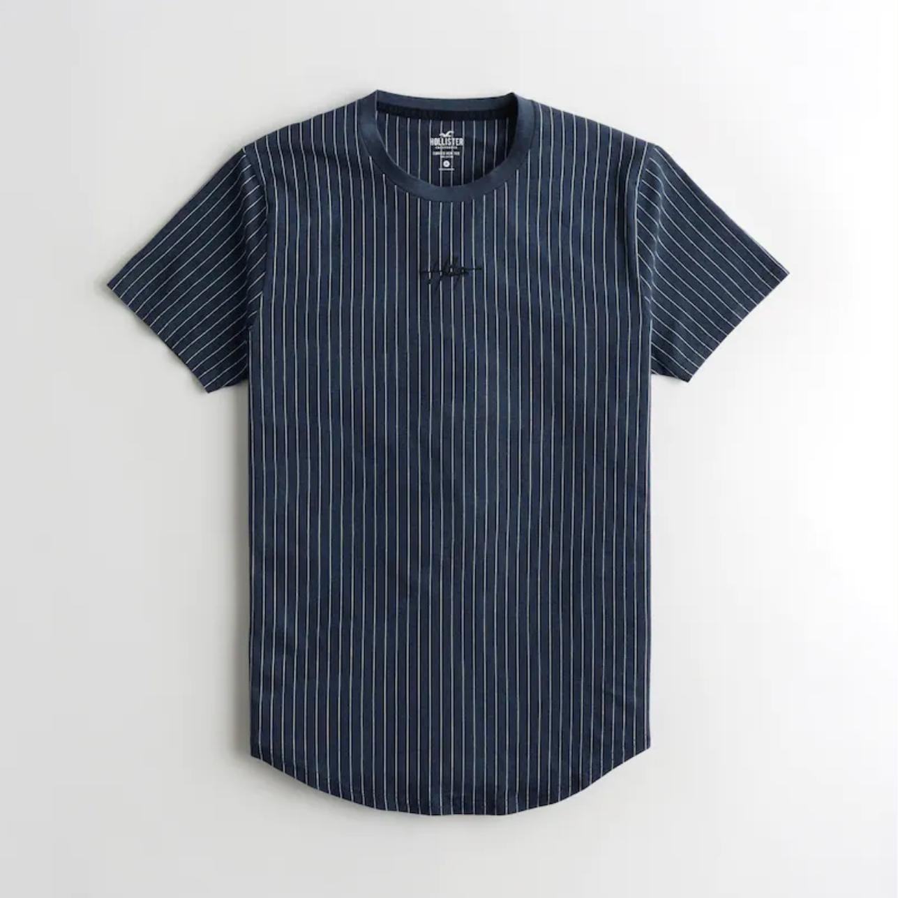 T-shirt ourlé arrondi rayé à Logo Hollister