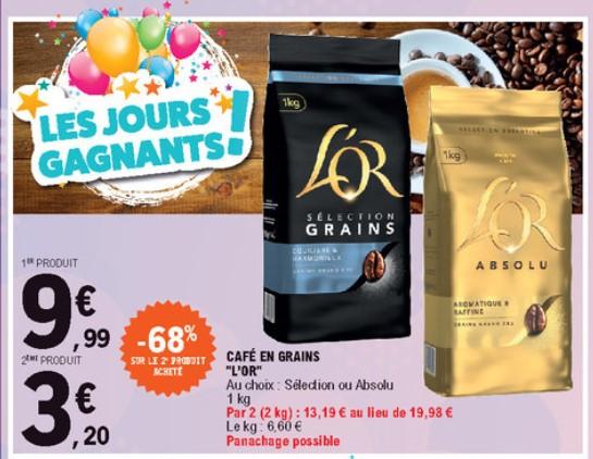 2 Paquets de café en grains L'Or Absolu ou Sélection - 2 x 1Kg