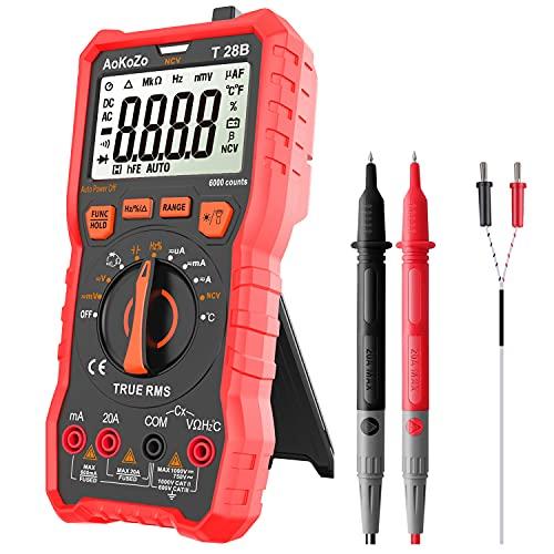 Multimètre Numérique Portable AoKoZo 28B - Plage automatique, 6000 points, TRMS, fusible 20A (Via coupon - Vendeur tiers)