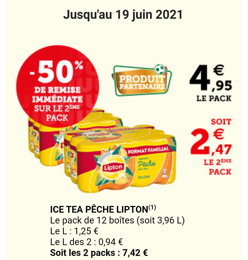 2 packs de canettes Ice Tea (soit 3.96L)