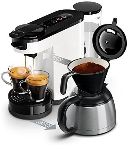Machine à café 2-en-1 Philips Senseo Switch HD6592/01 - Dosettes et café filtre, 1L