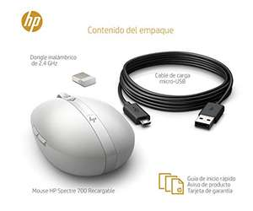 Souris Bleuetooth HP Spectre 700 - Argent Turbo (USB et Bluetooth, 1600 DPI, Easy-Switch, Ambidextre)